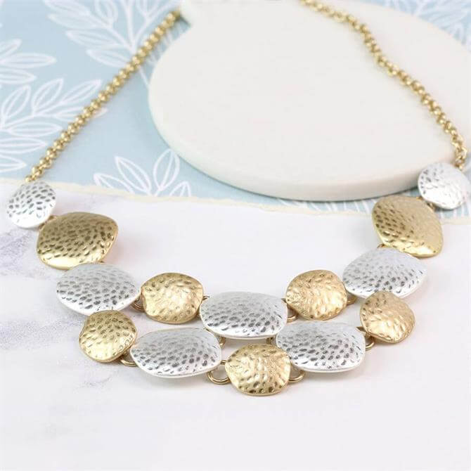 Peace of Mind Silver & Gold Plated Hammered Pebbles Necklace