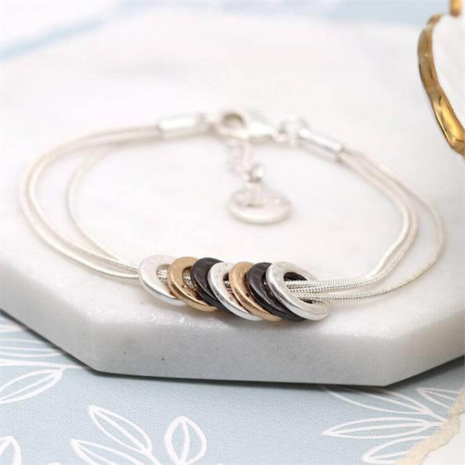 Peace of Mind Mixed Finish Multi Hoop Triple Strand Bracelet