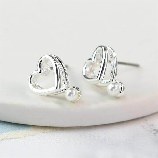 Peace of Mind Silver Plated Double Heart and Pearl Earrings