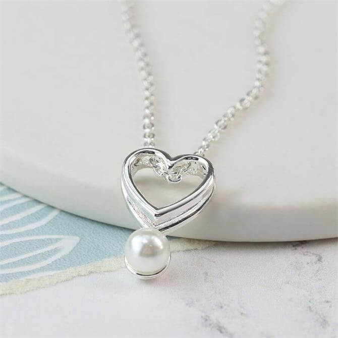 Peace of Mind Silver Plated Double Heart and Pearl Necklace