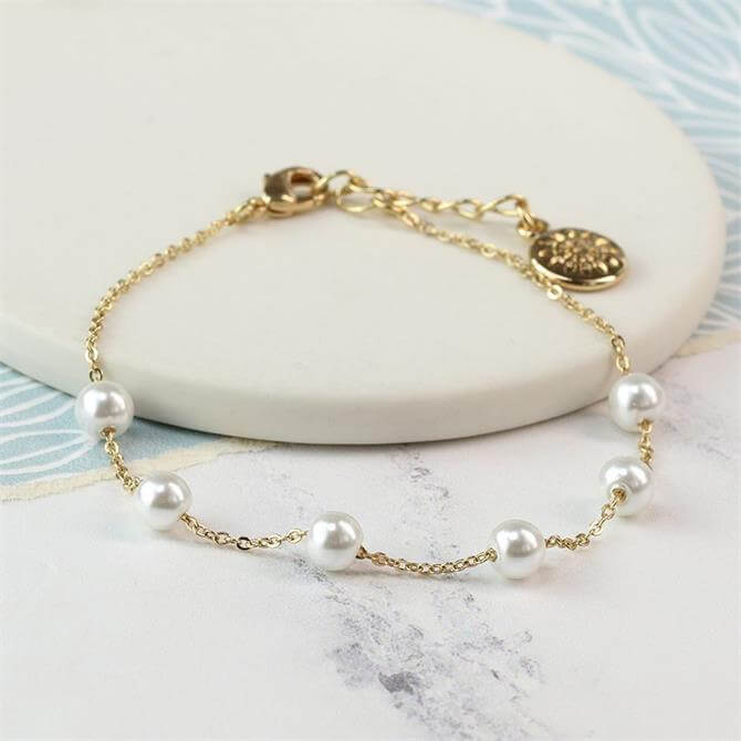 Peace of Mind Gold Plated Chain Bracelet with White Pearls