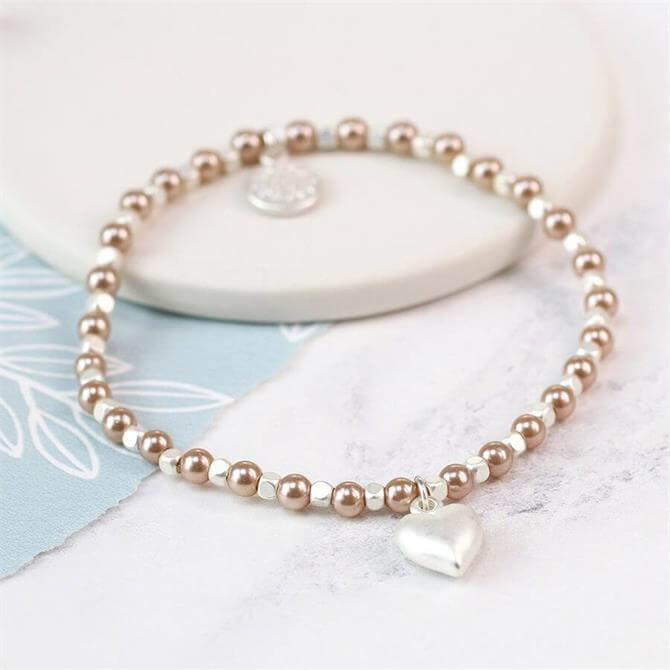 Peace of Mind Pink Pearl and Silver Plated Matt Heart Bracelet