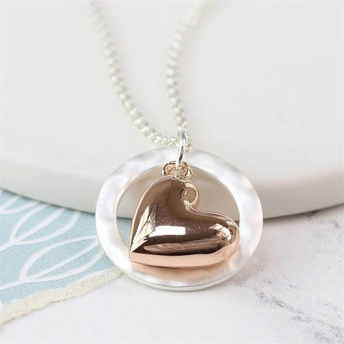 Peace of Mind Rose Gold Plated Heart in Silver Hoop Necklace