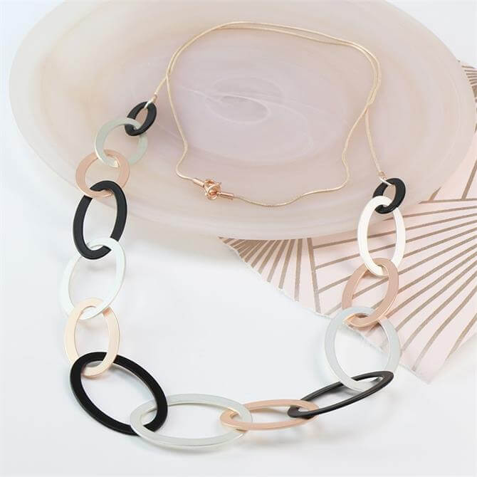 Peace of Mind Mixed Metallic Linked Hoops Necklace
