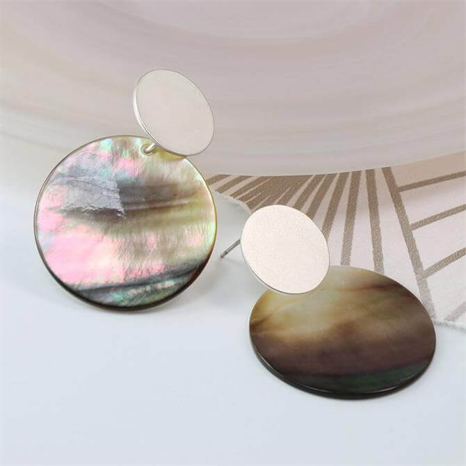 Peace of Mind Matt Silver and Shell Double Disc Stud Earrings