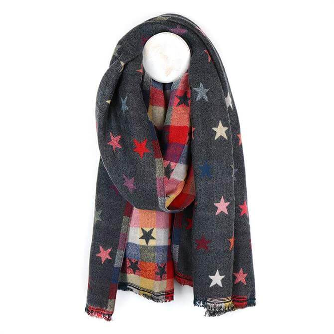 Peace of Mind Grey Reversible Jacquard Star Scarf