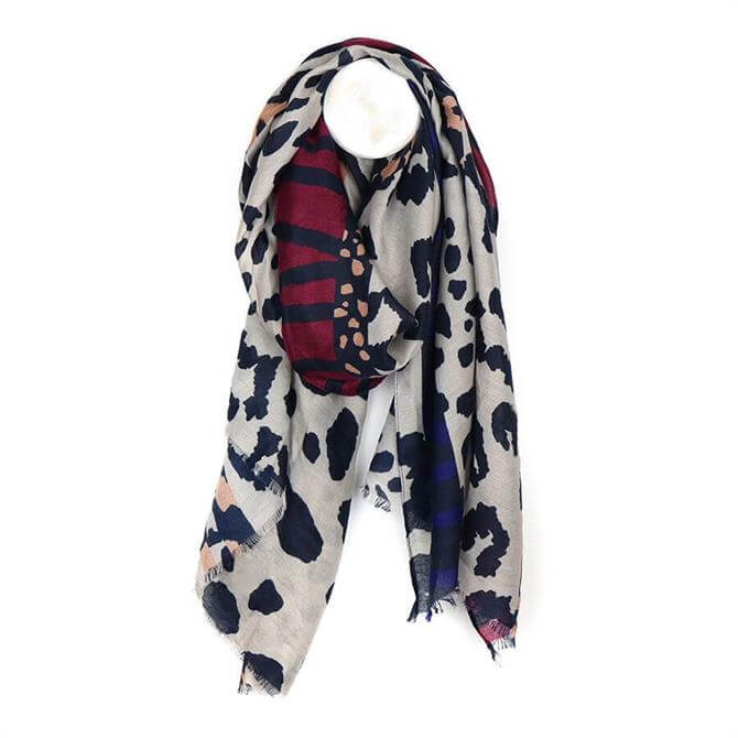 Peace of Mind Grey Mix Abstract Animal Print Scarf