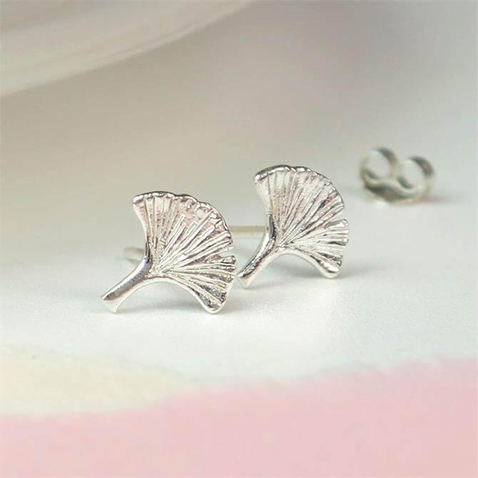 Peace of Mind Sterling Silver Ginkgo Leaf Stud Earrings