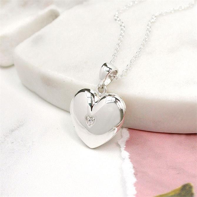 Peace of Mind Sterling Silver Heart & Crystal Locket
