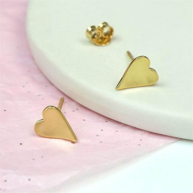 Peace of Mind Gold Plated Sterling Silver Heart Stud Earrings