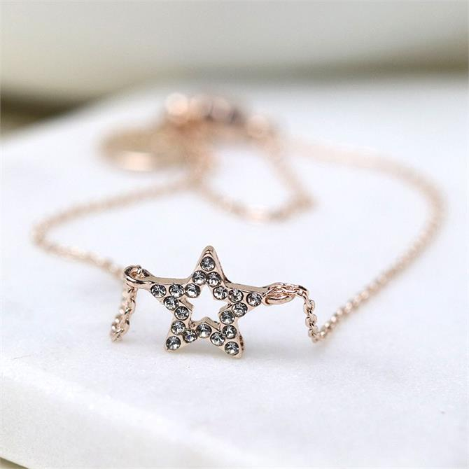 Peace of Mind Rose Gold Plated Fine Chain and Crystal Star Bracelet