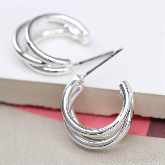 Peace of Mind Silver Plated Triple Strand Hoop Stud Earrings