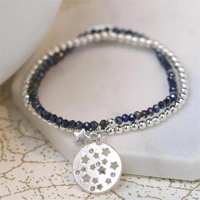 Peace of Mind Silver and Blue Bead Double Strand Bracelet with Star Charms