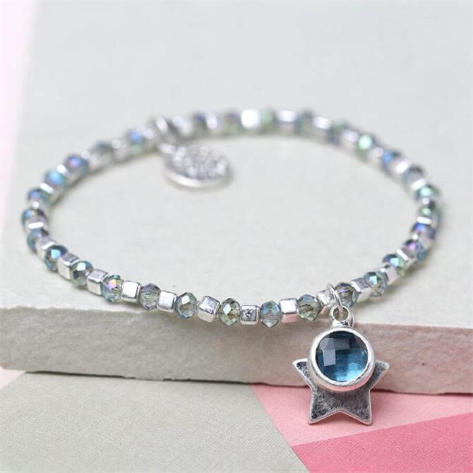 Peace of Mind Silver Cube Bead and Blue Crystal Bracelet with Star