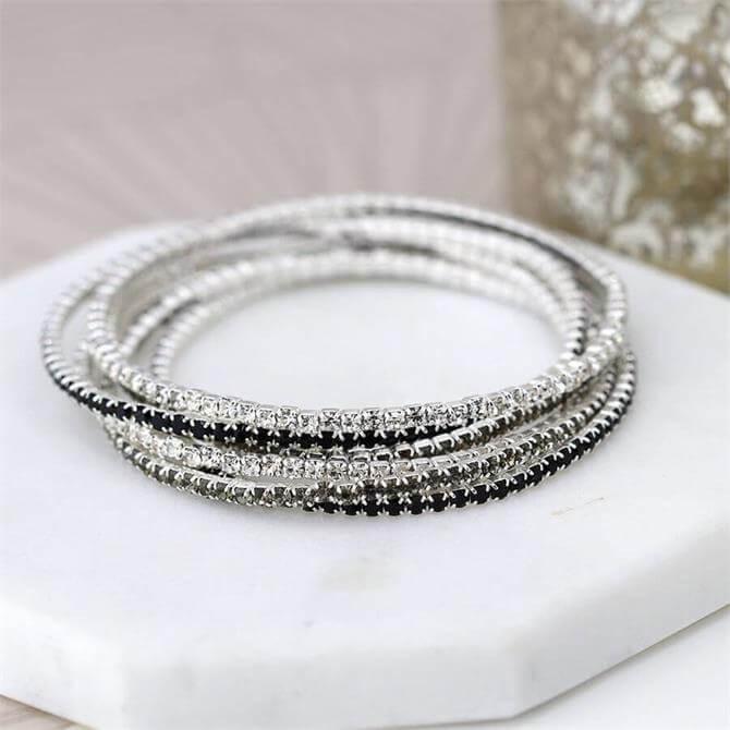 Peace of Mind Multi Strand Silver Plated and Monochrome Crystal Bracelets