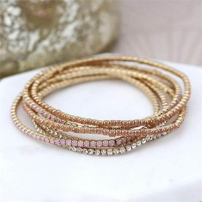 Peace of Mind Multi Strand Gold Plated and Blush Crystal Bracelets