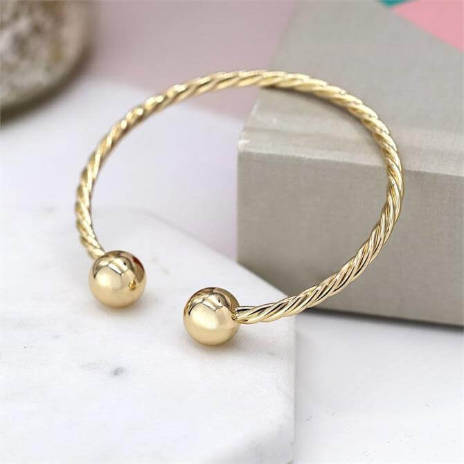 Peace of Mind Gold Plated Twisted Strand Torc Bracelet