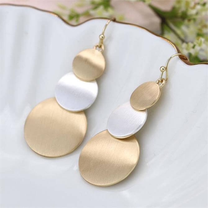 Peace of Mind Brushed Gold and Silver Plated Triple Disc Earrings