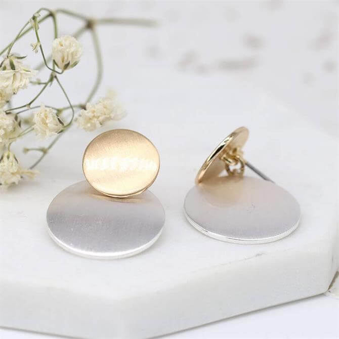 Peace of Mind Brushed Gold and Silver Plated Double Disc Earrings