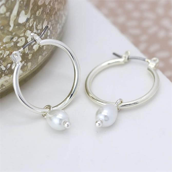 Peace of Mind Silver Plated Hoop and Pearl Drop Earrings