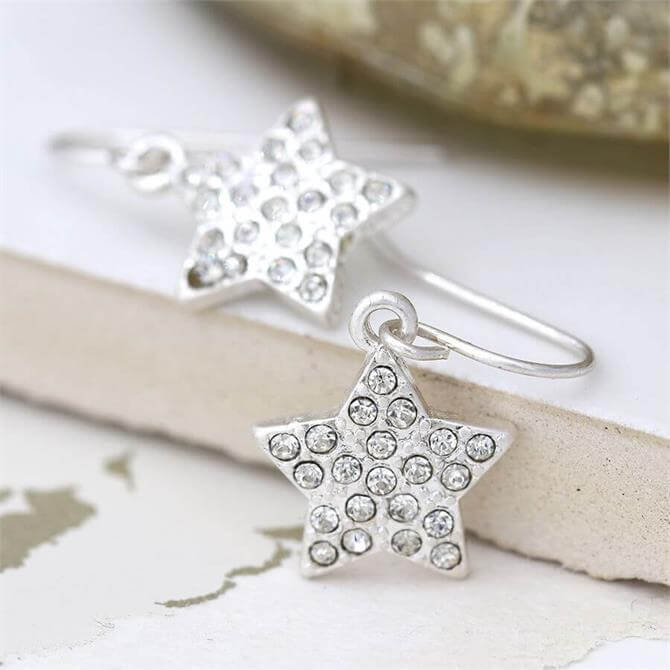 Peace of Mind Silver Plated Crystal Inset Star Drop Earrings
