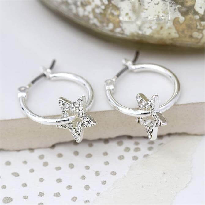 Peace of Mind Worn Silver Hoop and Crystal Inset Star Earrings
