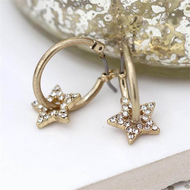 Peace of Mind Worn Gold Hoop and Crystal Inset Star Earrings
