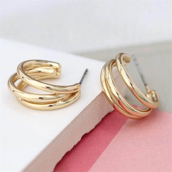 Peace of Mind Gold Plated Triple Strand Hoop Stud Earrings