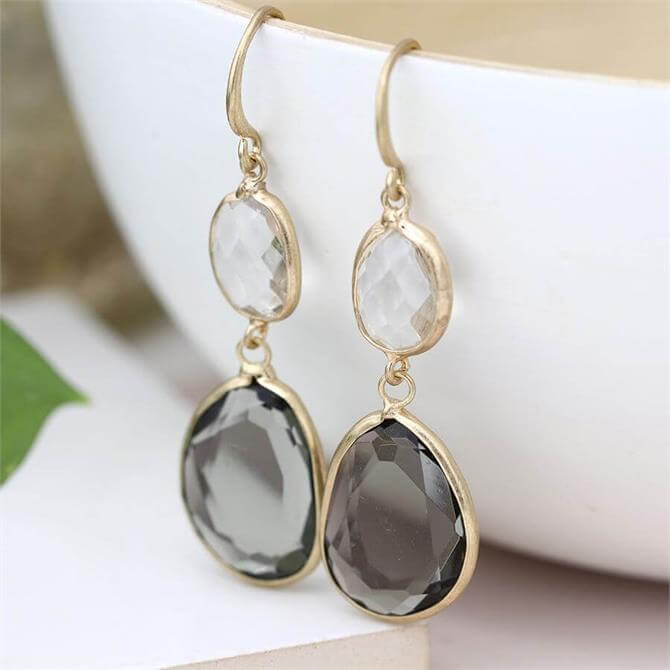Peace of Mind Gold Plated Smoky and Clear Crystal Drop Earrings