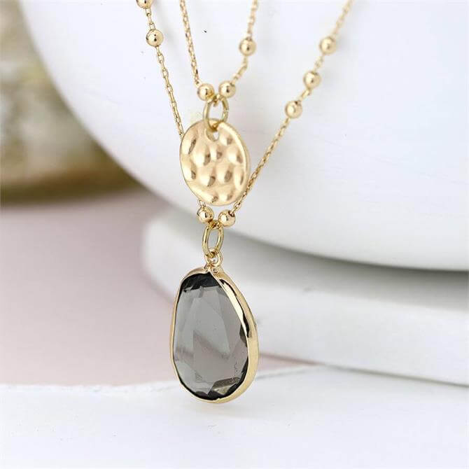 Peace of Mind Gold Plated Disc and Smoky Crystal Layered Necklace