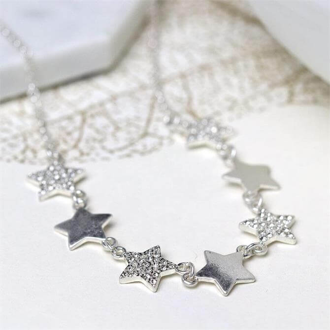Peace of Mind Worn Silver Multi Star Necklace with Crystals