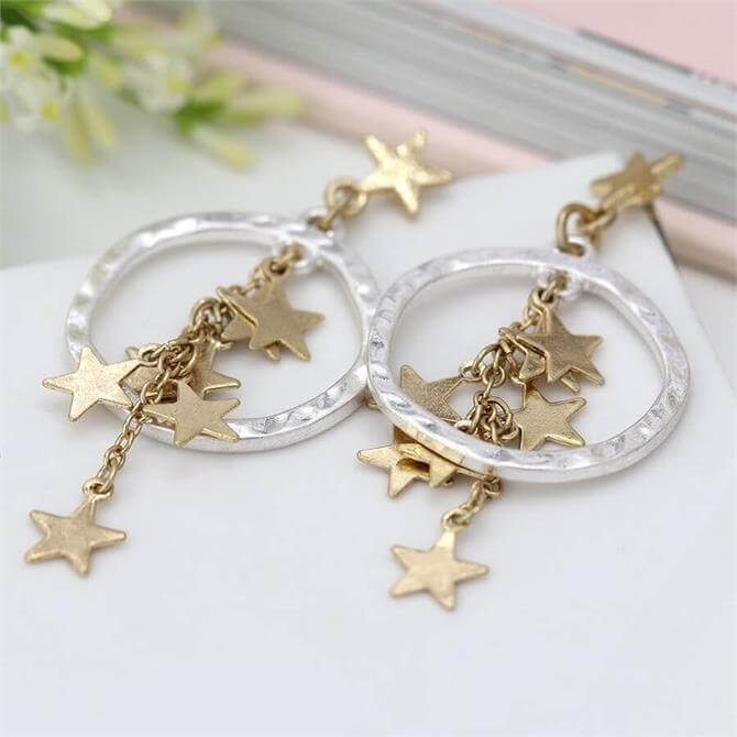 Peace of Mind Worn Gold Multi Star Cluster and Silver Hoop Earrings
