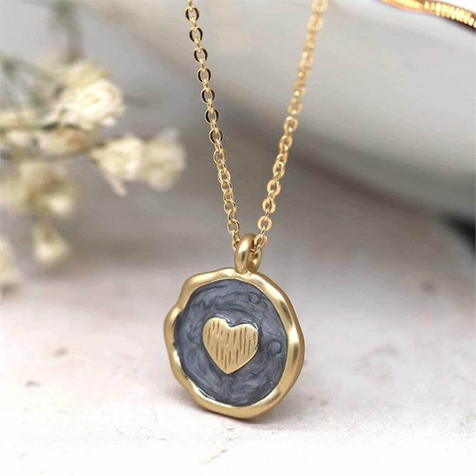 Peace of Mind Pearlescent Grey Enamel and Golden Heart Necklace