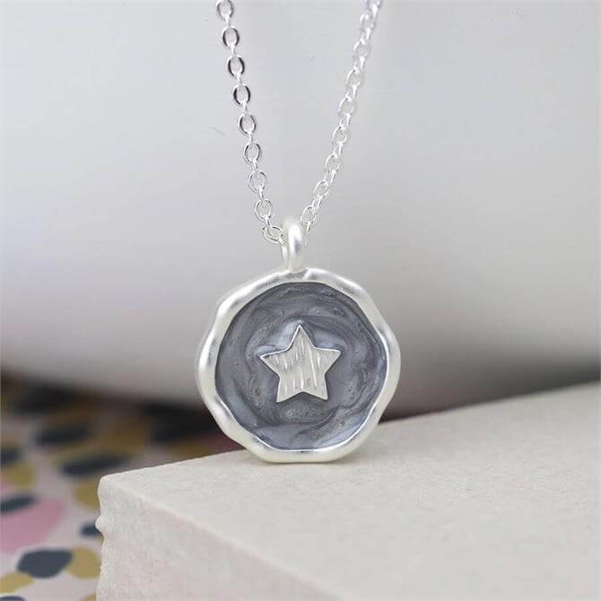 Peace of Mind Pearlescent Grey Enamel and Silver Star Necklace