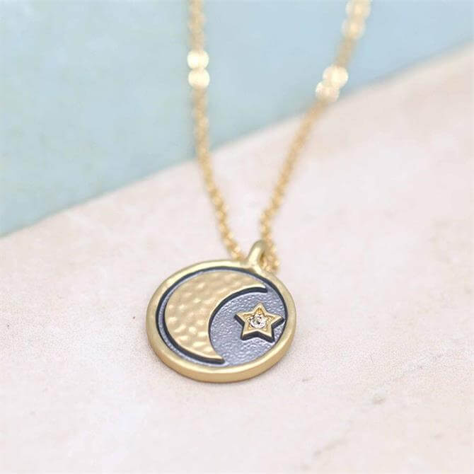 Peace of Mind Golden Moon and Crystal Star Necklace with Grey Enamel