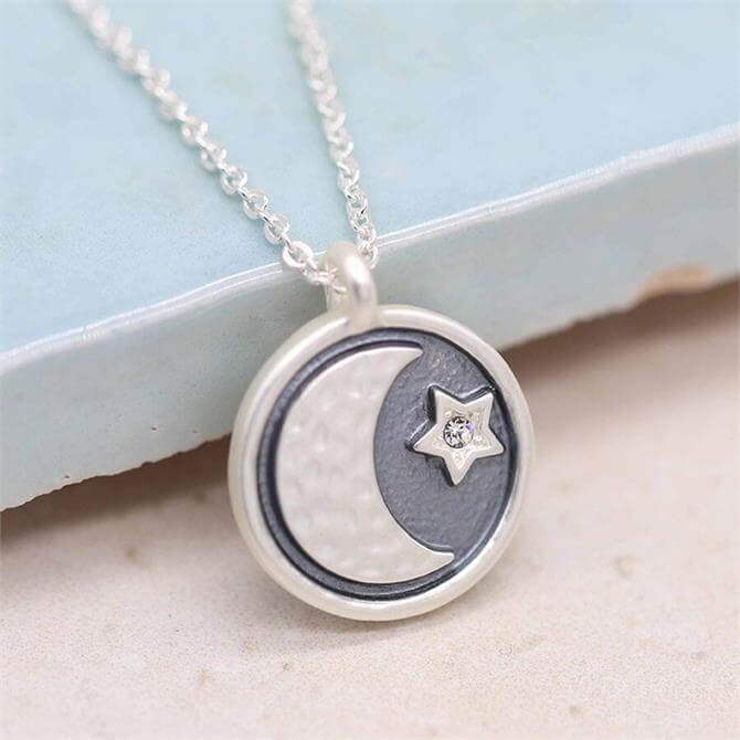 Peace of Mind Silver Moon and Crystal Star Necklace with Grey Enamel