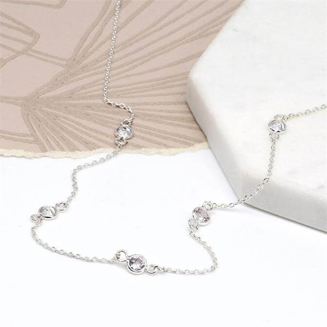 Peace of Mind Silver Plated Fine Chain and Multi Crystal Necklace