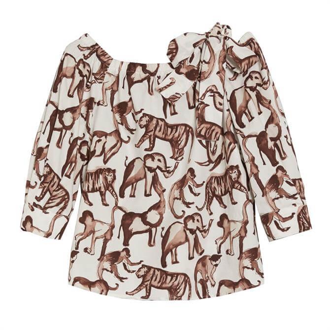 Pennyblack Insolito Safari Print Cotton Poplin Blouse