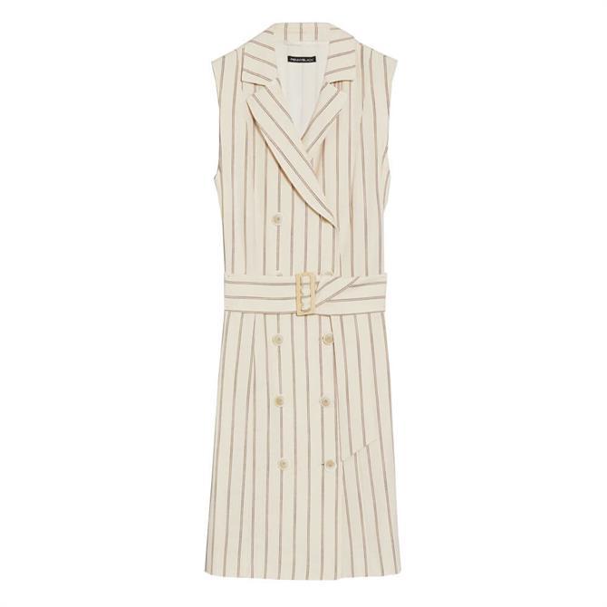 Pennyblack Omero Slubbed Basketweave Striped Shirt Dress