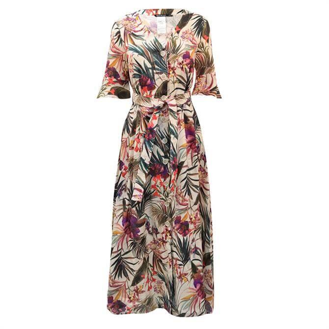 Pennyblack Ogni Pure Linen Tropical Print Linen Shirt Dress