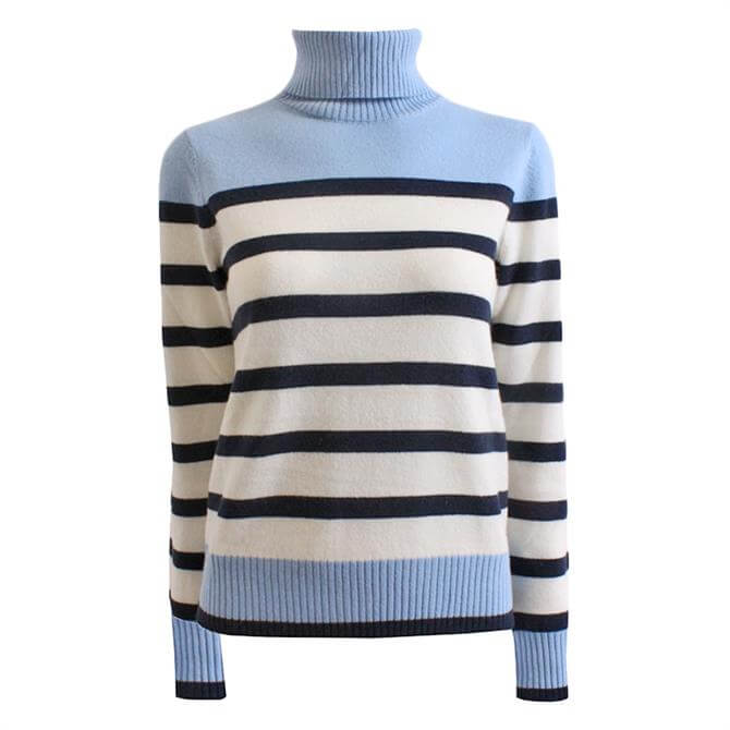 Pennyblack Wool and Cashmere Striped Polo Neck Sweater