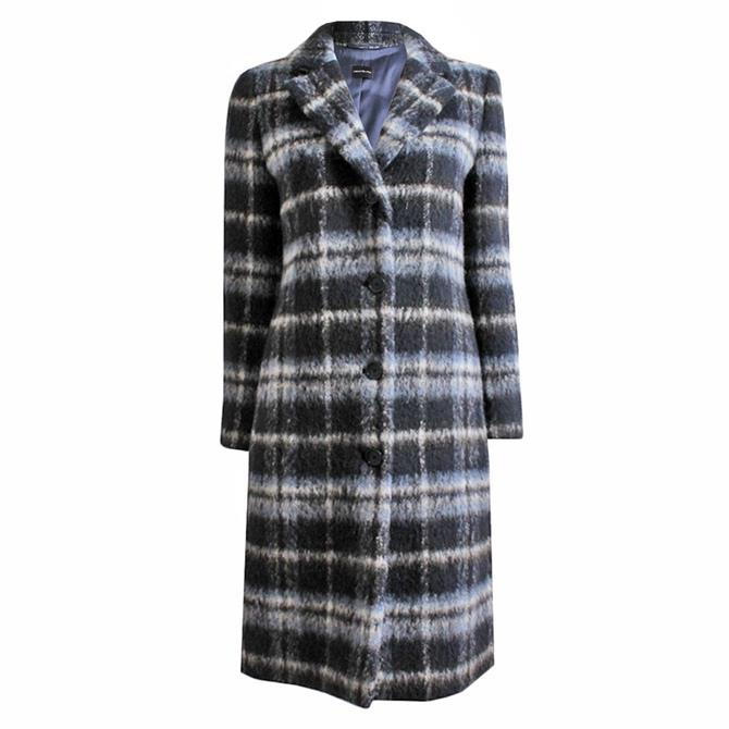 Pennyblack Licenza Navy Checked Wool Blend Coat