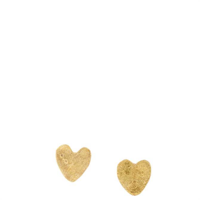 People Tree Brass Heart Stud Earrings