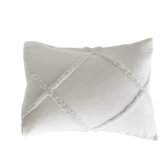 Peri Home Grey Chenille Lattice Standard Pillowcase