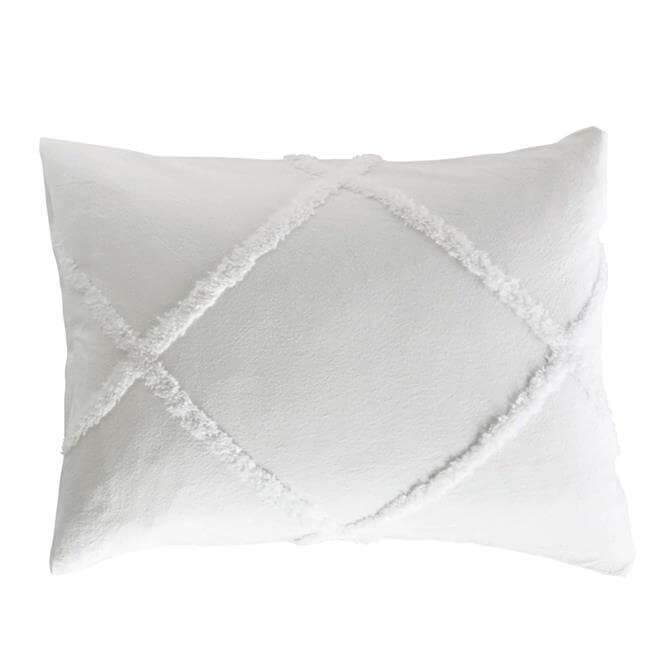 Peri Home White Chenille Lattice Standard Pillowcase
