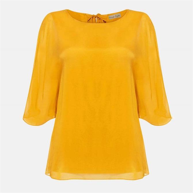 Phase Eight Ann Silk Blouse Ochre Yellow