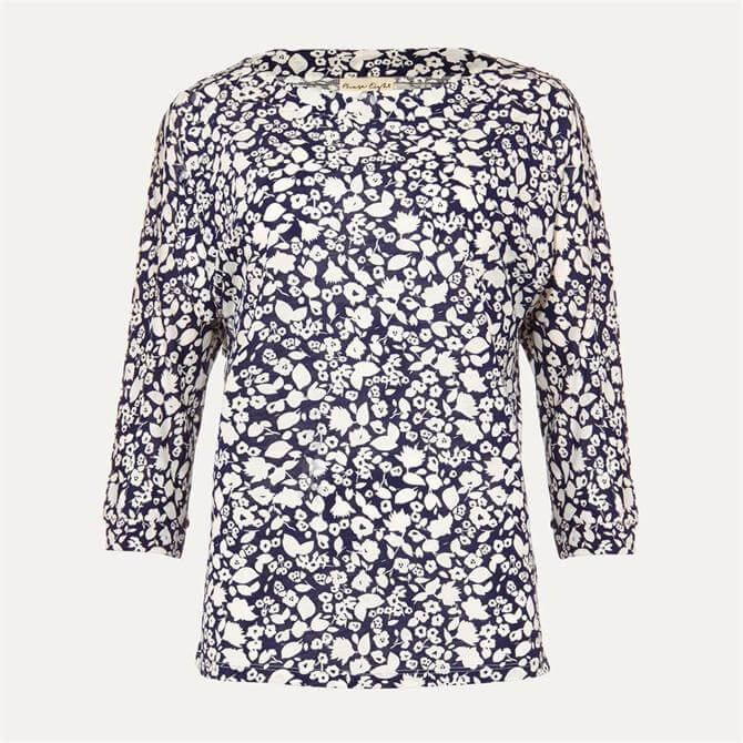 Phase Eight Florentine Print Top Navy