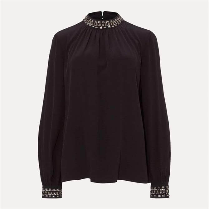 Phase Eight Aquila Embellished Black Blouse