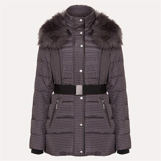 Phase Eight Brisa Check Charcoal Puffer Jacket