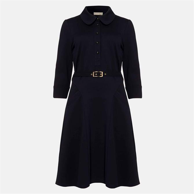 Phase Eight Enola Navy Belted Ponte Shirt Dress